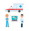 flat ambulance car surgeon doctor laptop vector image vector image