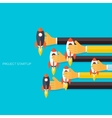 Flat rocket icon in hands Startup concept vector image
