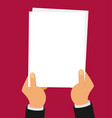flat two hands holding white sheet vector image vector image