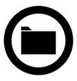 folder black icon in circle vector image vector image