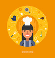 Food Icons and Objects in the Shape of Circle Chef vector image vector image