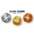 game gold silver bronze coins set with vector image vector image