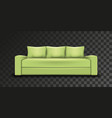 green sofa transparent background realistic mesh vector image