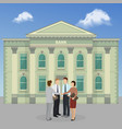 group people standing on bank building facade vector image vector image