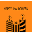 Happy Halloween Greeting card Striped candle set vector image vector image