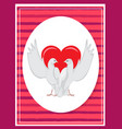 happy valentines day poster two doves rising wings vector image vector image