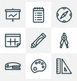 instrument icons line style set with calendar to vector image
