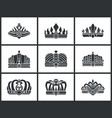 kings and queens monochrome crowns icon collection vector image vector image