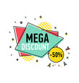 mega discount sticker in trendy linear style vector image vector image