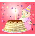One birthday celebrate cake baby vector image vector image