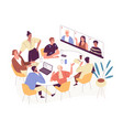 online conference with foreign business partners vector image