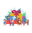 people with gift boxes giant box vector image vector image