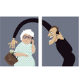 Phone scam targets seniors vector image vector image