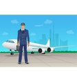 Pilot in uniform near airplane in airport vector image