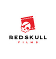 pirates skull with film strip cinema vintage vector image
