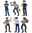 Police officers and robbers vector image vector image