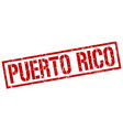puerto rico red square stamp vector image vector image
