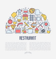 restaurant concept in half circle vector image vector image
