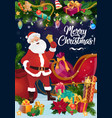 santa with christmas sleigh xmas bell and gifts vector image vector image