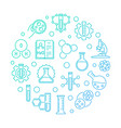 science and chemistry blue round linear vector image