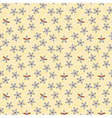 Seamless retro pattern of small flowers on blue vector image