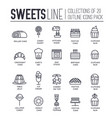 set sweets kitchen tools thin line icons vector image