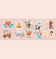set valentines day doodle sticker flat vector image vector image
