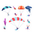skydivers set people jumping with parachutes vector image