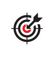 target with arrow - black icon onwhite background vector image