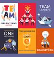 teamwork cards set vector image vector image