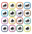 Thumbs up set white buttons vector image