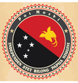 Vintage label cards of Papua New Guinea flag vector image vector image