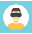 vr glasses icon virtual reality headset man vector image