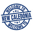 welcome to new caledonia blue stamp vector image vector image
