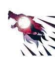 werewolf wolf dog raven crow - paper vector image vector image