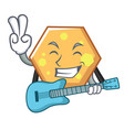 with guitar hexagon mascot cartoon style vector image