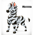 zebra cartoon character funny animal 3d icon vector image