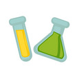 transparent flasks with chemical liquid substances vector image