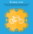 bike Floral flat design on a blue abstract vector image