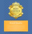 brand quality exclusive best premium golden label vector image