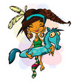 a young girl and rubber ring pony vector image