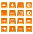 arrow icons set orange vector image vector image