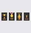 award gold trophy posters set vector image vector image
