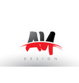 ay a y brush logo letters with red and black vector image vector image