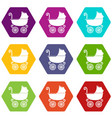 baby carriage vintage icons set 9 vector image vector image