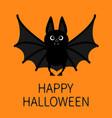 bat standing flying happy halloween cute cartoon vector image vector image