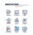 blog concept line design style icons set vector image