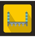Bridge with towers icon flat style vector image vector image