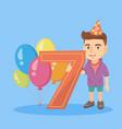 caucasian boy celebrating seventh birthday vector image vector image
