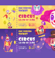 circus tickets clowns banners vector image vector image